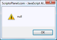 JavaScript exec() method returning a null value
